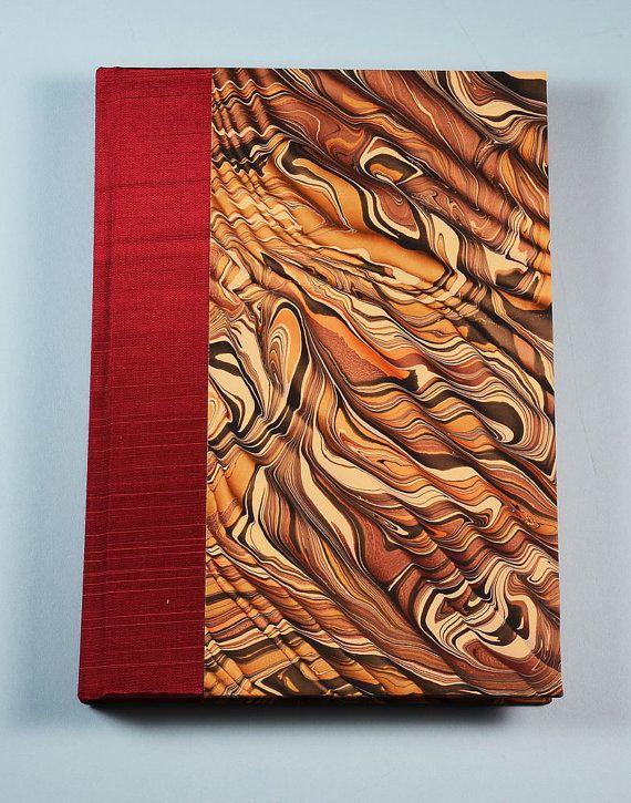 Blank Journal Notebook Lined Paper CARAMEL SWIRL by WolfiesBindery, $25.00