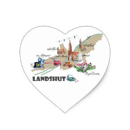Landshut objects of interest heart sticker - wedding stickers unique design cool sticker gift idea marriage party