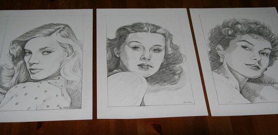 Retro vintage actress set 1 framed artwork by NewHomeDecor on Etsy