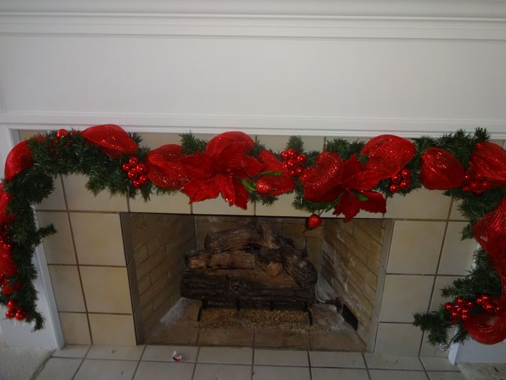 Garland   Door Garland  Fireplace Garland Poinsettia Garland  Christmas Decoration  Home Decor  Deco Mesh Garland  Red Garland by donnahubbard on Etsy