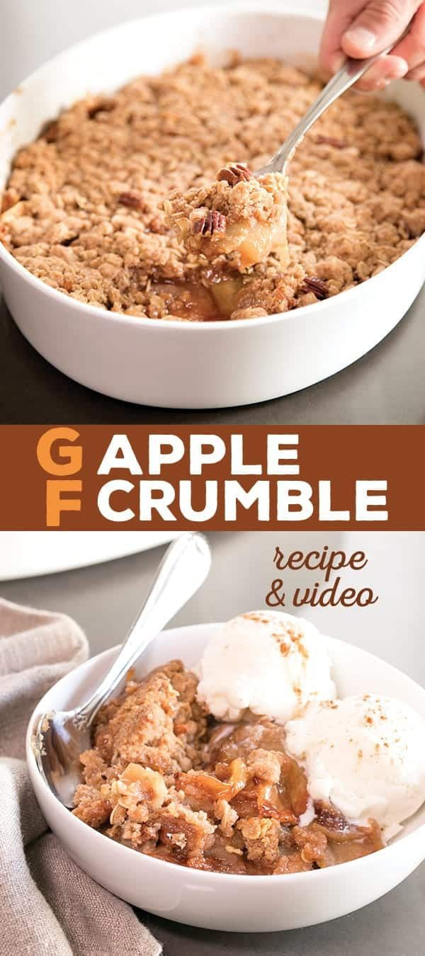 his gluten free apple crumble recipe is loaded with the season's best apples and topped with crisp chunks of apple spiced goodness. Make it with or without oats!