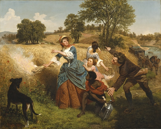 Emanuel Gottlieb Leutze (Germany, Gmünd, 1816 - 1868)   Mrs. Schuyler Burning Her Wheat Fields on the Approach of the British, 1852  Painting, Oil on canvas, 32 x 40 in. (81.28 x 101.6 cm), Signed and dated lower left: E. Leutze. 1852  Bicentennial gift of Mr. and Mrs. J. M. Schaaf, Mr. and Mrs. William D. Witherspoon, Mr. and Mrs. Charles C. Shoemaker, and Jo Ann and Julian Ganz, Jr. (M.76.91)  American Art Department.