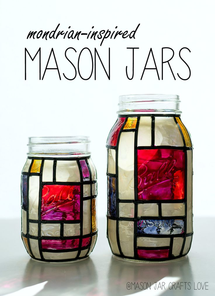 DIY stained glass mondrian-inspired mason jar crafts