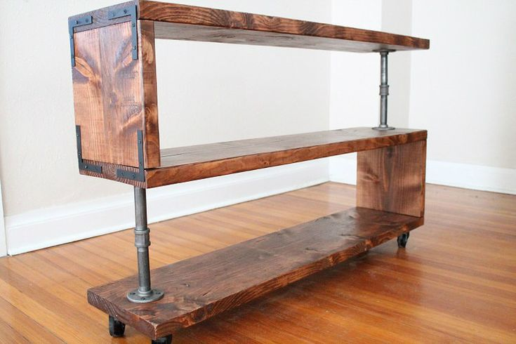Industrial Wood Shelf, TV Stand, Bookcase, Storage, Shoe Rack by NativeDen on Etsy https://www.etsy.com/listing/227461156/industrial-wood-shelf-tv-stand-bookcase