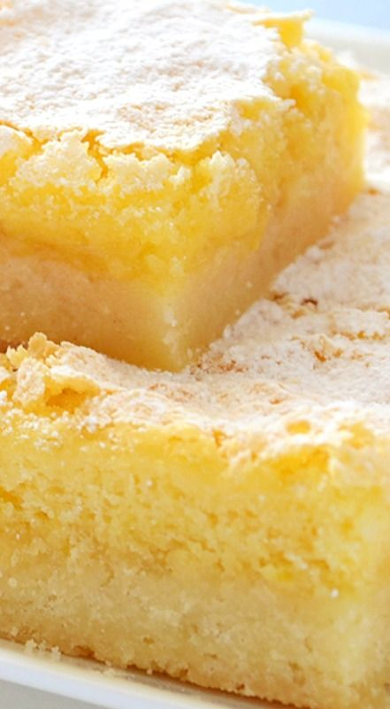 Lemon Squares ~ not too sweet lemon bars with thick shortbread crust and tangy lemon curd filling.