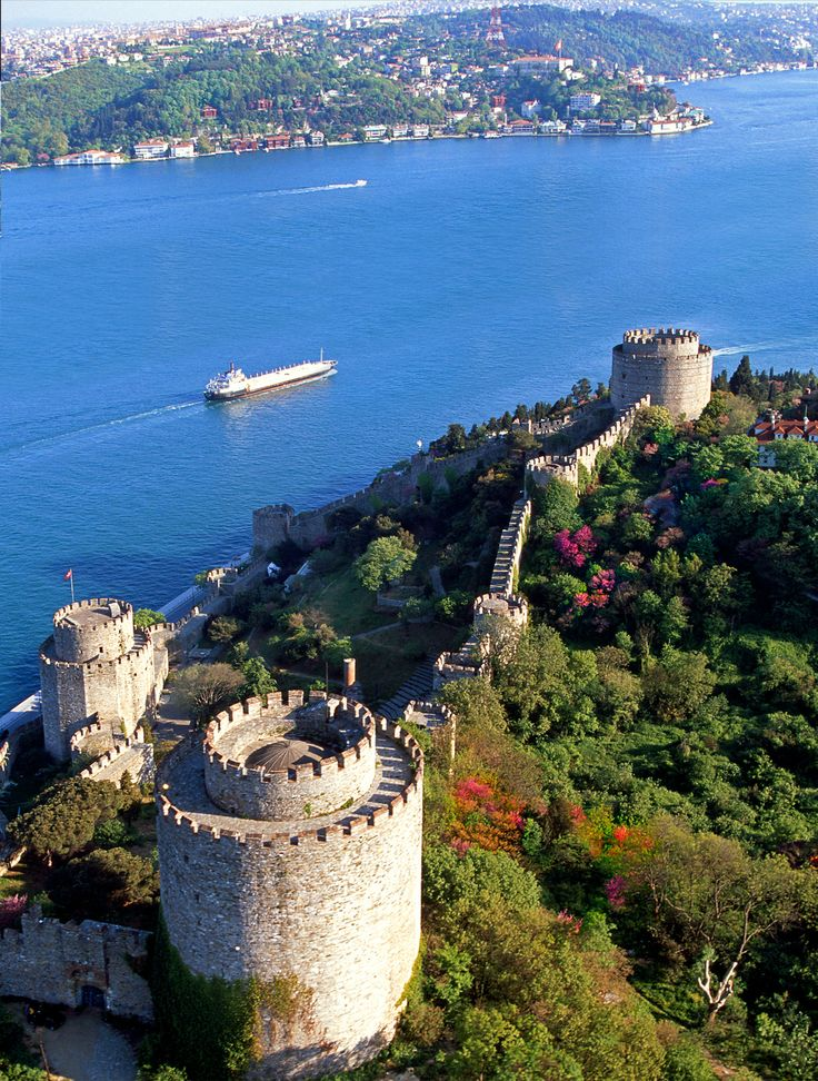 European side of İstanbul with Rumeli Hisarı castle and blooming flowers...