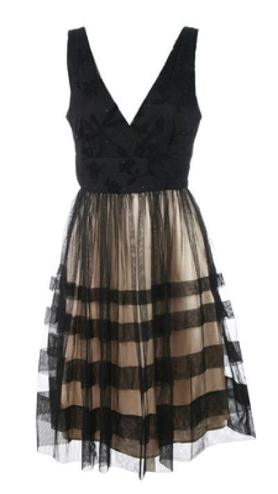 Sandra Darren size 10 dress. Beautiful V-neck cocktail dress with a velvet burnout floral design on the top that sparkles with small muted glitter circles. The skirt is elegant black sheer mesh over a