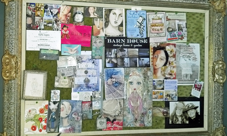 studio inspiration board with my fave artists + some of my art including a copy of the lace cake I sold to Courtney Love which was a thrill