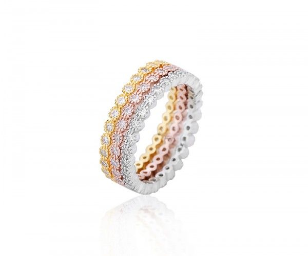 Triocolor 3-in-1 Silberring mit Zirkonia Kristallen / Tricolor 3-in-1 sterling silver ring with zirconia crystals