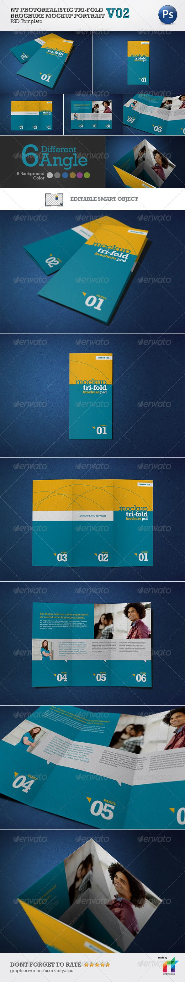 NT Photorealistic Tri-Fold Brochure Mockup - V02  #GraphicRiver              NT PHOTOREAlISTIC TRI-FOLD BROCHURE MOCKUP PORTRAIT – V02 is ideal if you are looking for a realistic mockup 3 fold brochure. it is designed based on the actual images. it perfectly match for A4 size brochure when opened and when closed 9.9cm width for each panel. There are 6 angles and 6 background to choose from. This is the standard way of folding for 3 fold brochure. No need to waste time, simply edit the…