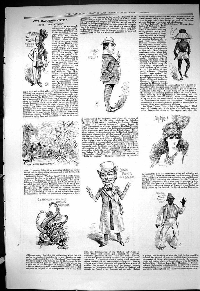 Antique Print of Sporting Dramatic News 1886 Captious Critic Round World Gollett