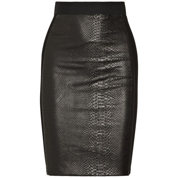 Mason by Michelle Mason Snake-effect leather and ponte pencil skirt ($615) ❤ liked on Polyvore