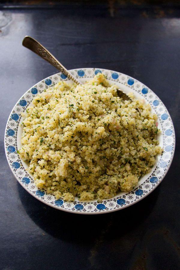 Quinoa, which is botanically a seed and not a grain, gets dressed up for the seder table with a mix of sweet sautéed shallots, lemon, and parsley.