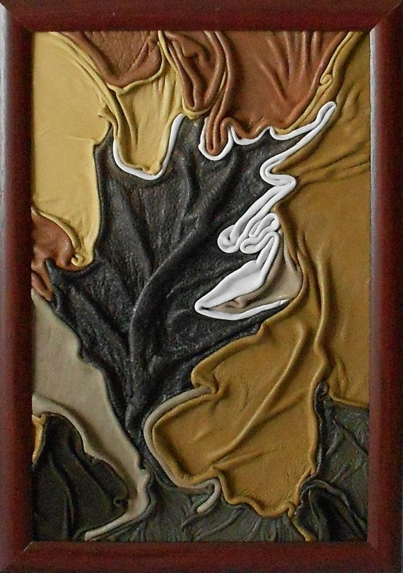 """Oak leaf"", leather picture, on hardboard, PVC brown frame, handmade. Height: 34.5cm /13.6 in/ Width: 24cm /9.4 in/"