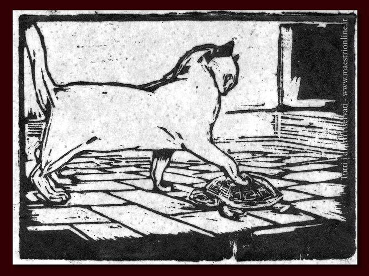 """Duilio Cambellotti (Italian, 1876-1960) - """"Il gatto e la tartaruga"""" (The cat and the turtle)"""