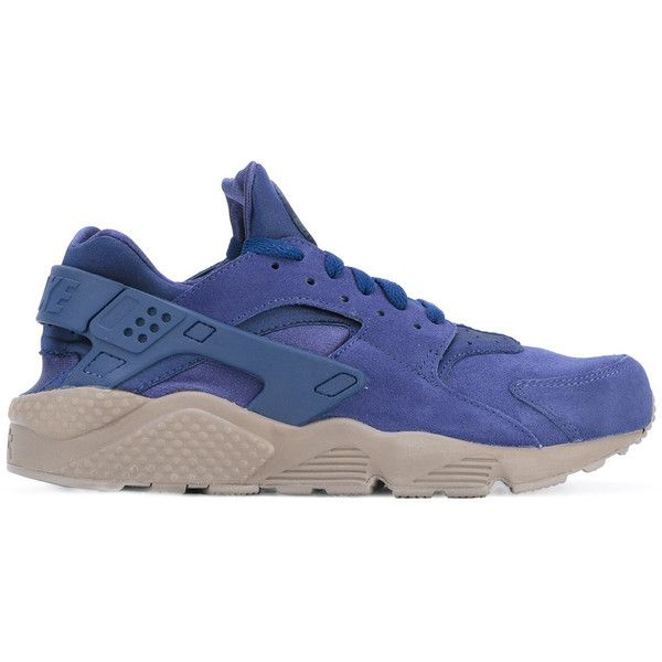 Nike Air Huarache Run trainers ($137) ❤ liked on Polyvore featuring men's fashion, men's shoes, men's sneakers, blue, nike mens sneakers, mens lace up shoes, mens blue sneakers, mens blue shoes and nike mens shoes