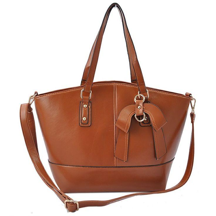 Brown - Vintage Bow Pendant Tote Bag £26