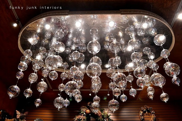 Homemade chandelier made from Christmas glass balls and pot lights by Davronda Nurseries, photographed by Funky Junk Interiors.