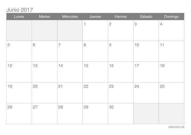 Calendario de junio 2017