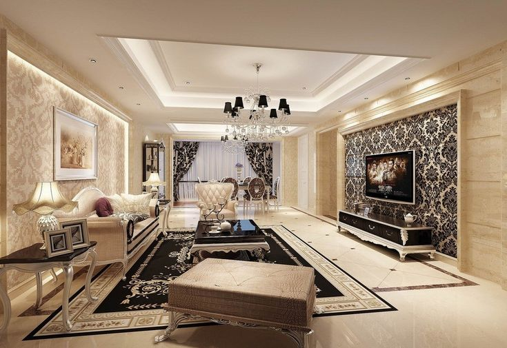 Wallpaper living room designs