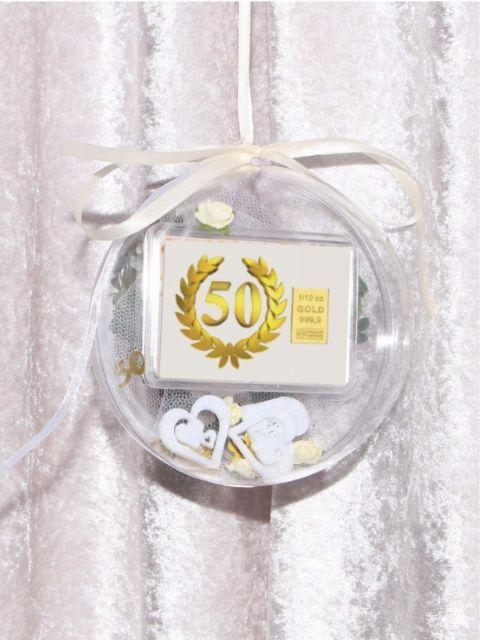 3,1g zum 50. Geburtstag in dekorierter Acrylkugel