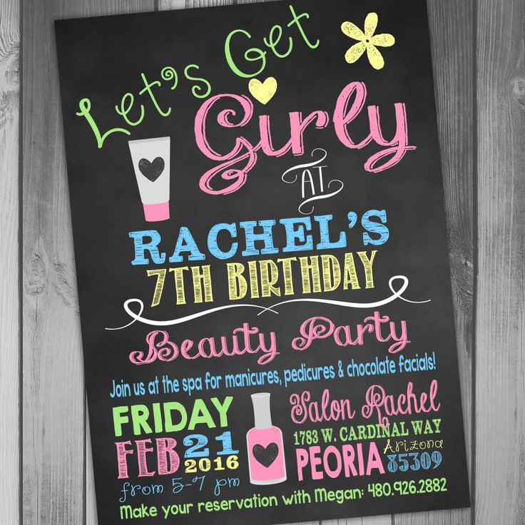 Spa Birthday Girl Birthday Party Beauty Party Makeup Party Girly Invitation Manicure Invitation Chalkboard Birthday Printable Birthday by CLaceyDesign on Etsy https://www.etsy.com/listing/223649350/spa-birthday-girl-birthday-party-beauty