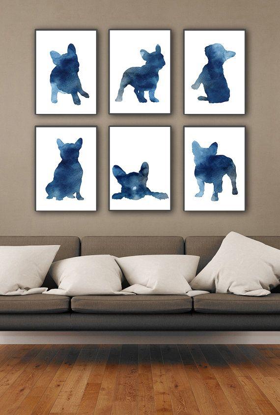 Blue Frenchie Set of 6, Nursery Art Print, Watercolor Painting, French Bulldog Poster, Whimsical Animal Art – Deko