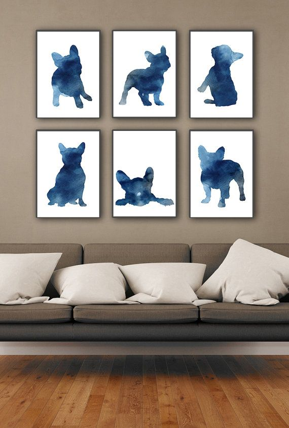 Blue Frenchie Set of 6, Nursery Art Print, Watercolor Painting, French Bulldog Poster, Whimsical Animal Art