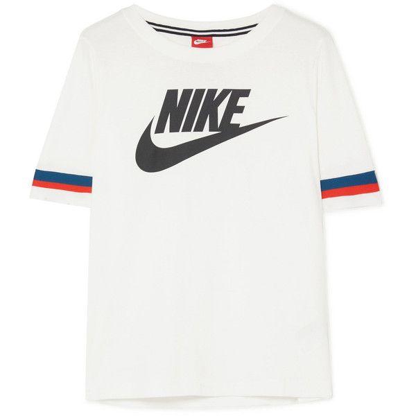 Nike Striped Printed Cotton Jersey T Shirt 825 Ars Liked On Polyvore Featuring Tops T Shirts Retro Tees Wh Stripe Tshirt Nike Tshirt Mens Spring Fashion