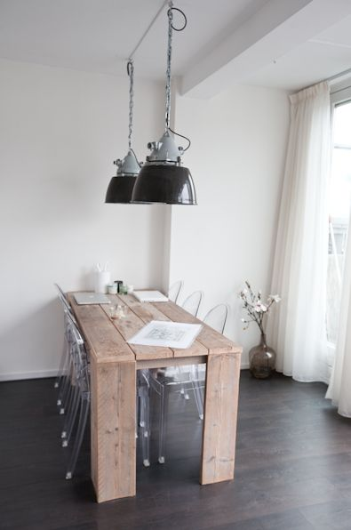 Rustic table with industrial lamp