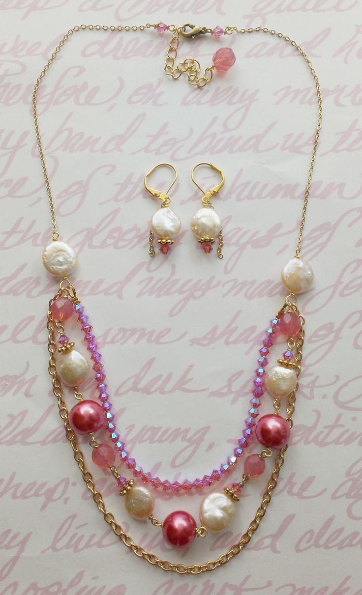 Custom Bridesmaid Jewelry Set: Costume gold, freshwater pearls, Swarovski crystals, + glass beads. www.aebumble.com