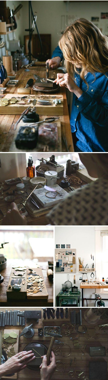 Hannah Ferrara's Jewelry Studio    http://www.renegadecraft.com/maker-spotlight-another-feather