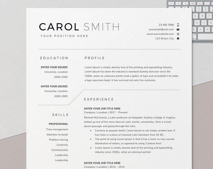 Resume Template Cv Template Professional Resume Template Etsy Resume Design Template Resume Template Resume Template Word