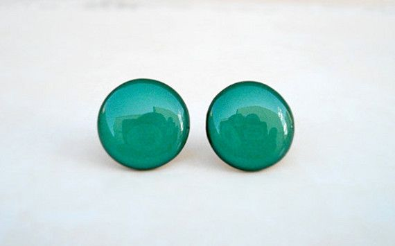 Teal Earring Studs, Green Stud Earrings, Small Earrings