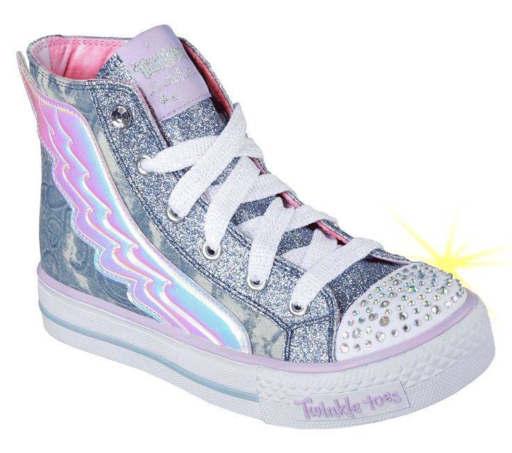 skechers shoes light up white. Give Her Pretty Style Some Wings With The SKECHERS Twinkle Toes: Shuffles - Flutter Up Skechers Shoes Light White