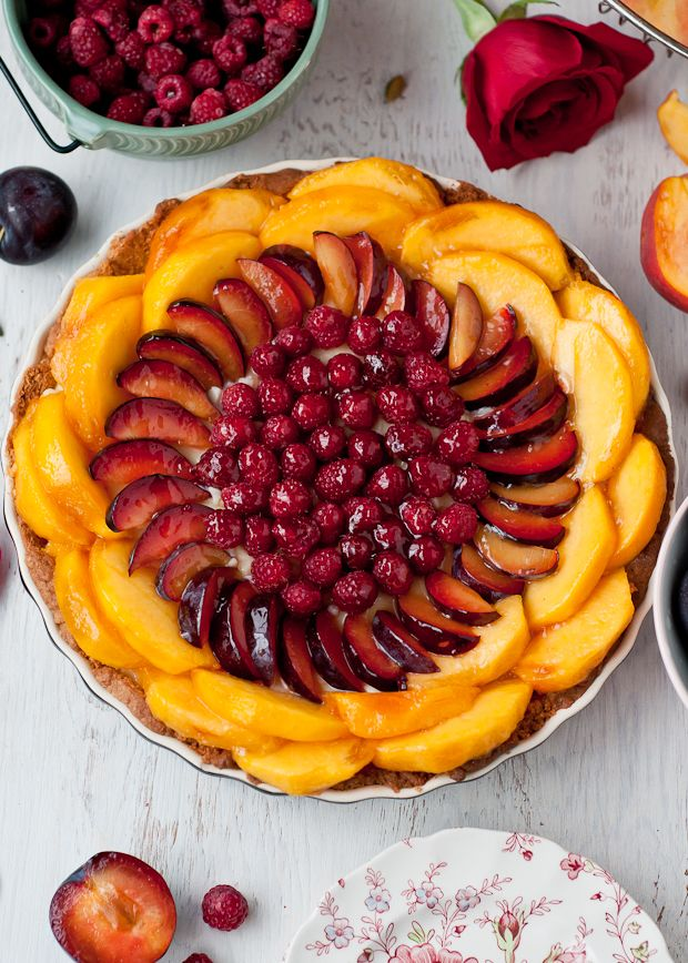 Gluten-Free Peach, Plum, Raspberry and Cardamom Cream Tart with Almond Crust Recipe