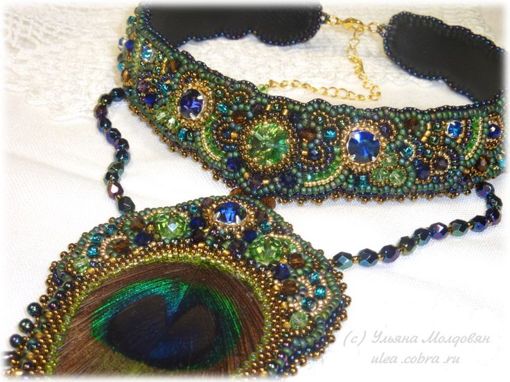"""Necklace """"Peacock eye"""". Bead embroidery. Necklace with peacock feather and Swarovski crystals. Beaded jewelry by Ulyana Moldovyan."""