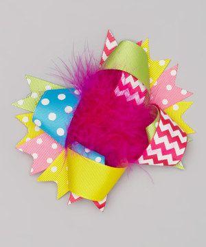 Yellow Polka Dot & Chevron Marabou Bow Clip by The Princess Pea # ...