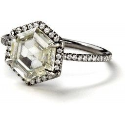 Antique hexagonal light yellow diamond ring