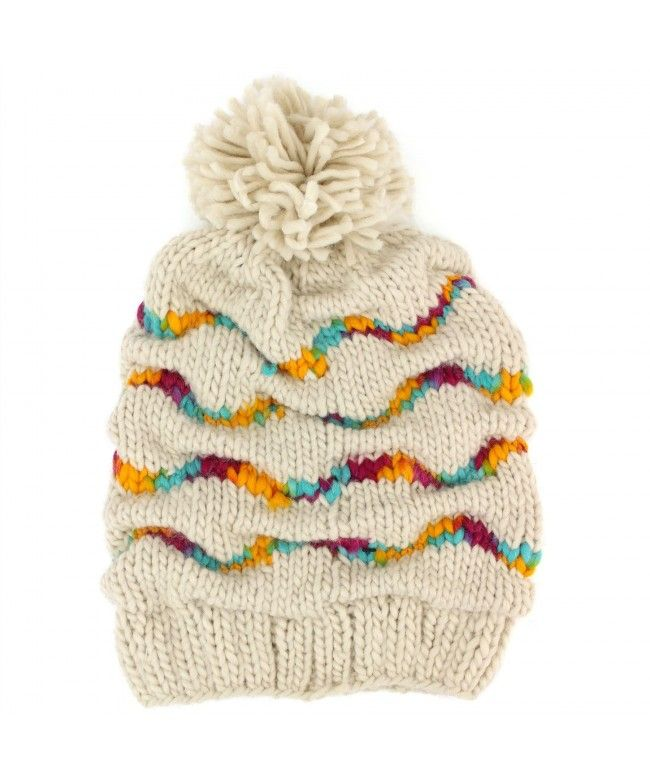 Hawkins Chunky knit gathered baggy beanie bobble hat with rainbow stripes - Beige