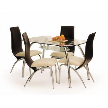 Masa din sticla Corwin Bis, L125xl75x72 cm bucatarie. Blatul acestei mese elegante este fabricat din sticla ultradura. Pret: 515 Ron.