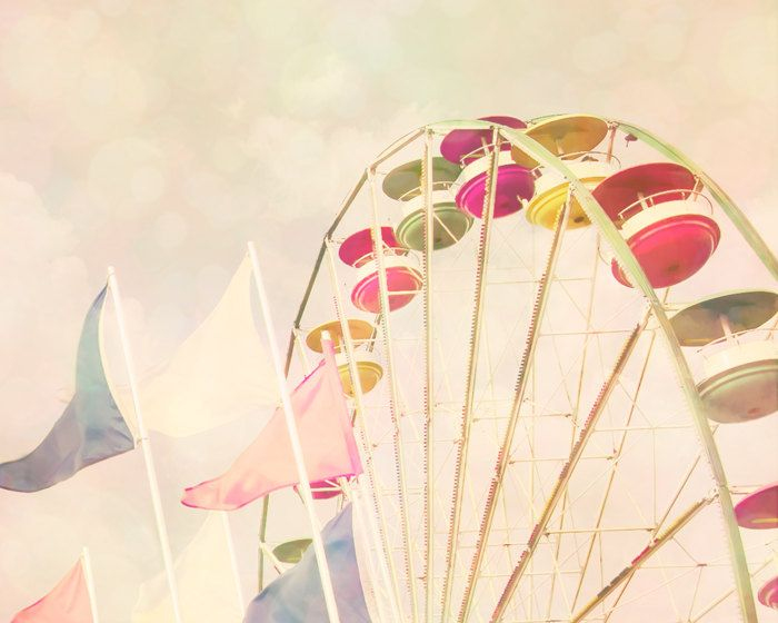 Summer colors pale pink little girl's room ferris wheel by bomobob. $30.00, via Etsy.
