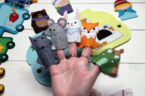 Check out this item in my Etsy shop https://www.etsy.com/ru/listing/511502501/felt-finger-puppets-rainbow-train-animal