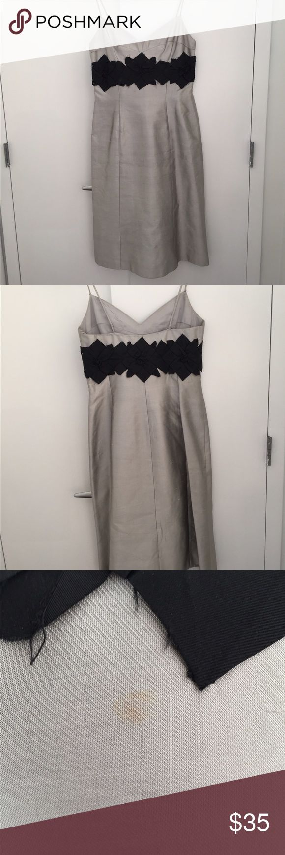 Silver and Black Raw Silk Kay Unger Dress This dress is gorgeous and fits perfectly. There are a few stains that a dry cleaner can remove. The length is just below the knee. Kay Unger Dresses Midi