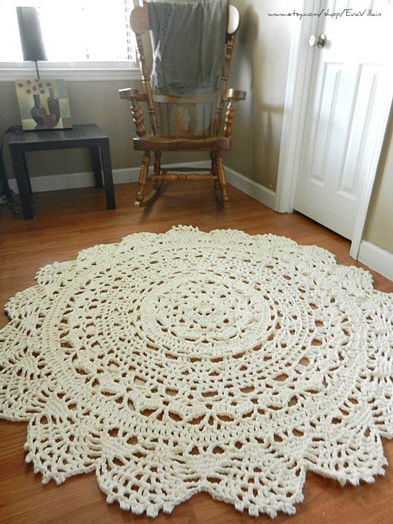 Giant Crochet Doily Rug Floor Light Beige Ecru Nude Lace Large Area Rug Cottage Chic Oversized Rustic Chic Home Decor Round Rug