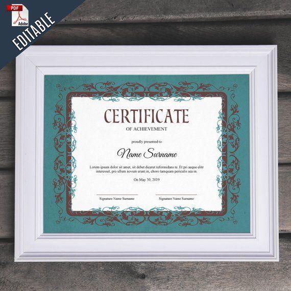 Vintage Blank Multipurpose Editable Certificate Template Etsy Editable Certificates Certificate Templates Printable Certificates