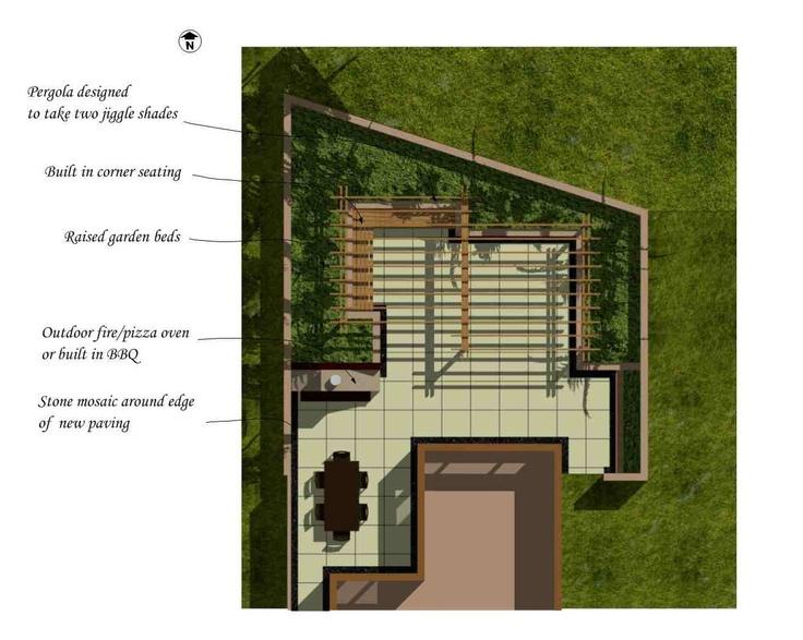 Walled, sunken courtyard in plan view. Designed by Fusion Landscape Design. www.fusionlandscapedesign.co.nz