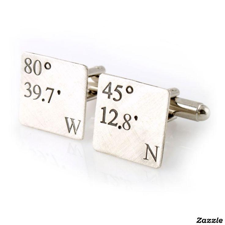 Custom Coordinates Sterling Silver Cuff Links