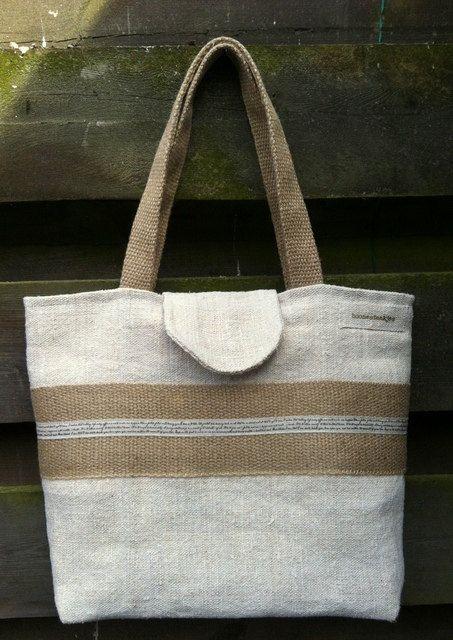 antique linen tote bag shoulder bag by boonestaakjes on Etsy, $80,00