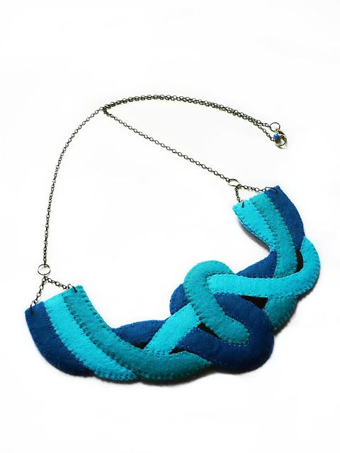necklace by #dushky | #felt #necklace #jewelry #accessories #blue #strings #knot #knotted #statement #turquoise